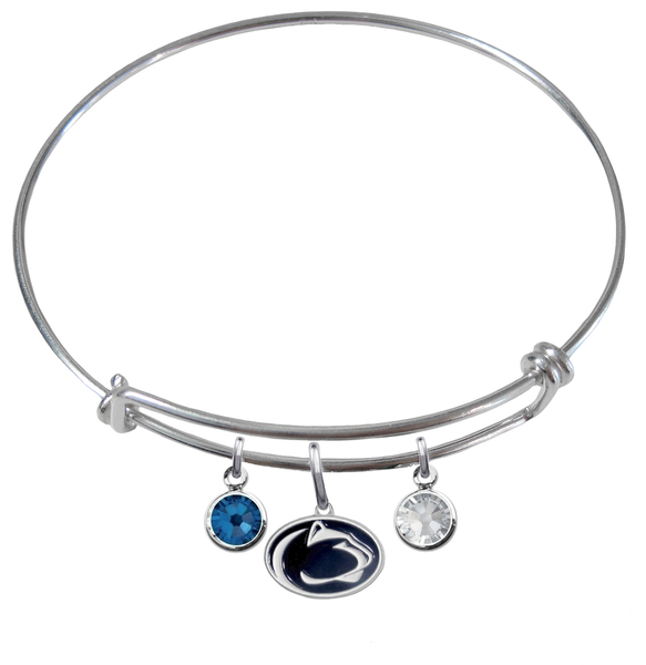 Penn State Nittany Lions NCAA Expandable Wire Bangle Charm Bracelet
