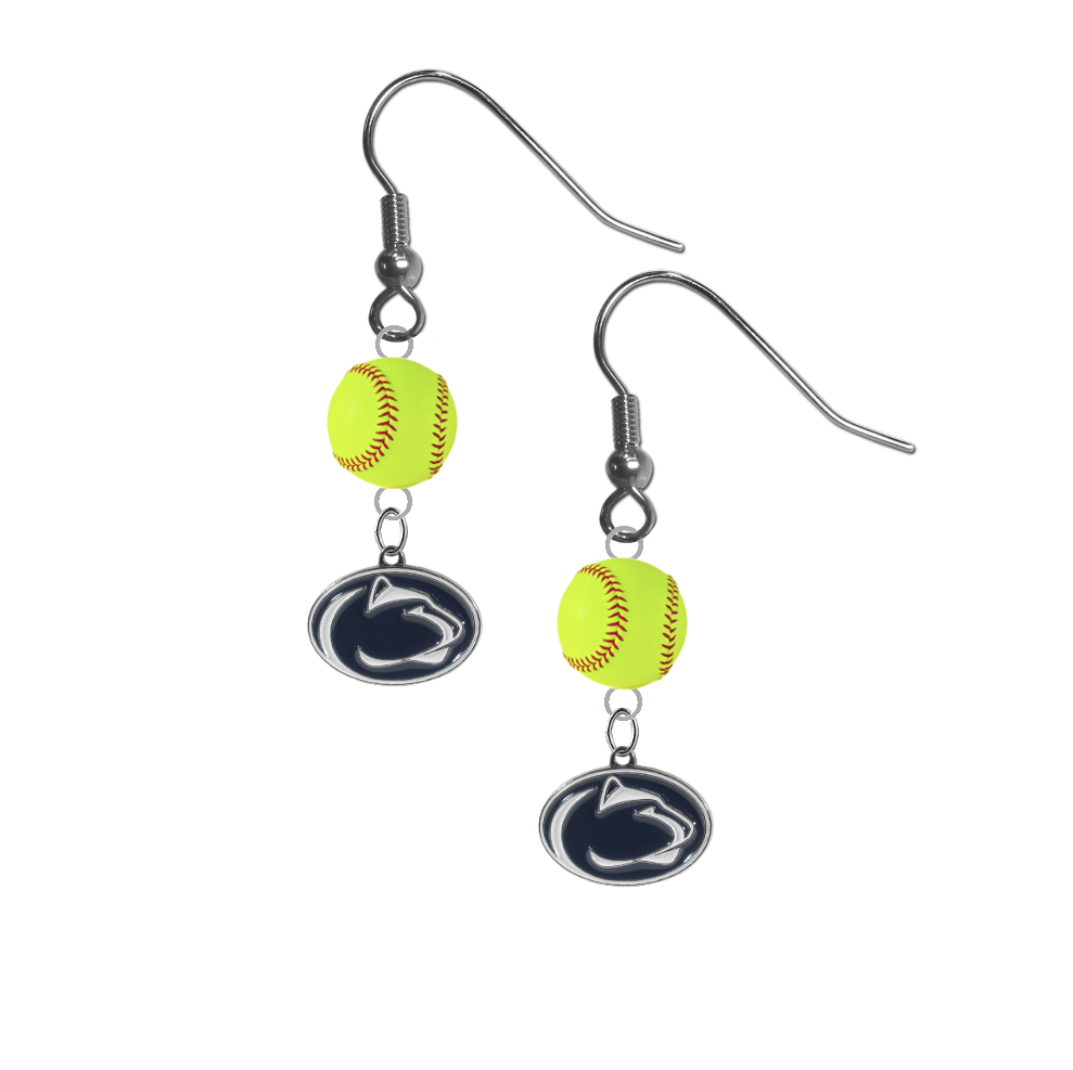 Penn State Nittany Lions NCAA Fastpitch Softball Dangle Earrings