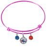 Philadelphia 76ers PINK Color Edition Expandable Wire Bangle Charm Bracelet