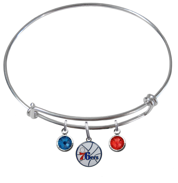 Philadelphia 76ers NBA Expandable Wire Bangle Charm Bracelet