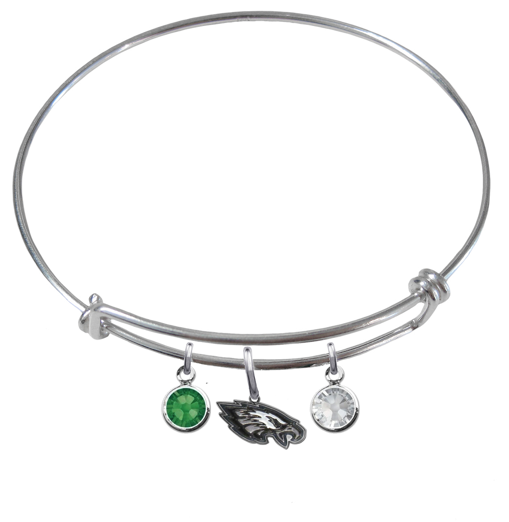 Philadelphia Eagles NFL Expandable Wire Bangle Charm Bracelet