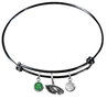 Philadelphia Eagles Black NFL Expandable Wire Bangle Charm Bracelet