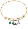 Philadelphia Eagles Gold NFL Expandable Wire Bangle Charm Bracelet