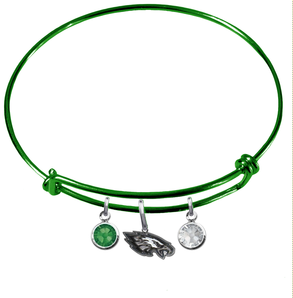 Philadelphia Eagles Green NFL Expandable Wire Bangle Charm Bracelet