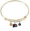 Philadelphia Flyers Color Edition GOLD Expandable Wire Bangle Charm Bracelet