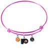 Philadelphia Flyers Color Edition PINK Expandable Wire Bangle Charm Bracelet
