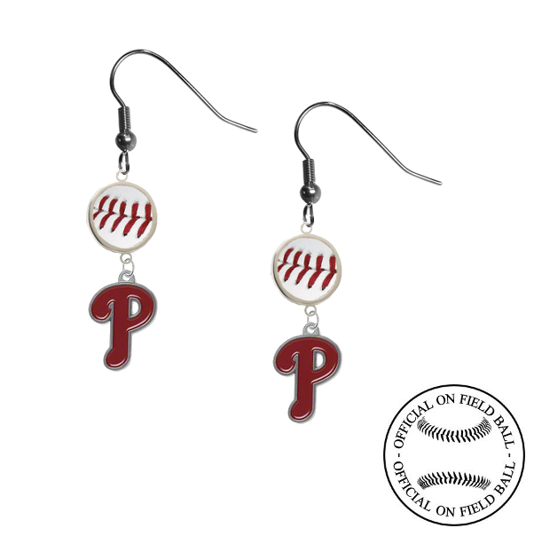 Philadelphia Phillies MLB Authentic Rawlings On Field Leather Baseball Dangle Earrings