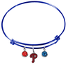 Philadelphia Phillies Blue MLB Expandable Wire Bangle Charm Bracelet