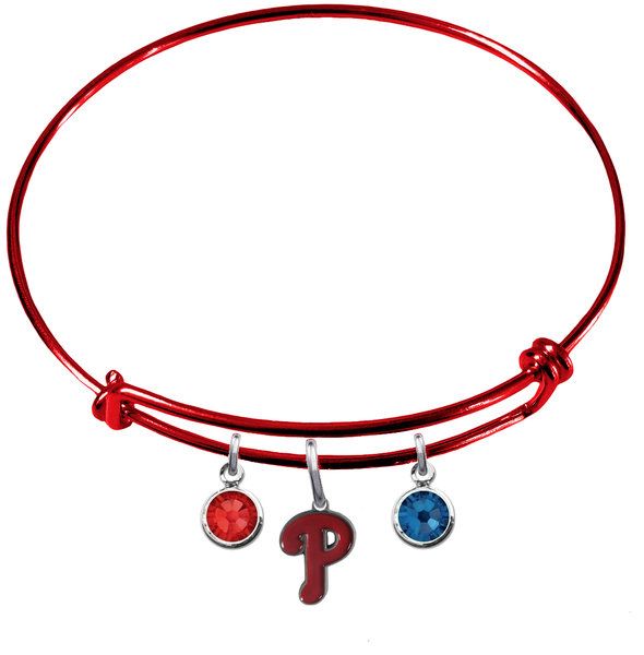 Philadelphia Phillies Red MLB Expandable Wire Bangle Charm Bracelet