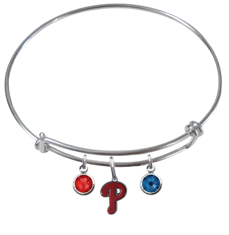 Philadelphia Phillies MLB Expandable Wire Bangle Charm Bracelet
