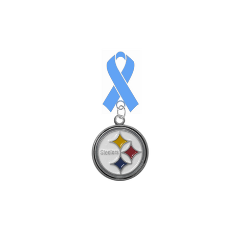 Pittsburgh Steelers NFL Prostate Cancer Awareness / Fathers Day Light Blue Ribbon Lapel Pin