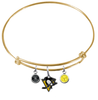 Pittsburgh Penguins Color Edition GOLD Expandable Wire Bangle Charm Bracelet
