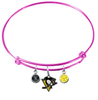 Pittsburgh Penguins Color Edition PINK Expandable Wire Bangle Charm Bracelet