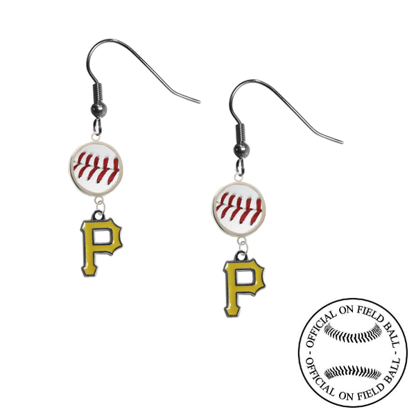 Pittsburgh Pirates MLB Authentic Rawlings On Field Leather Baseball Dangle Earrings