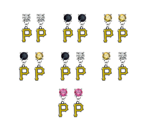 Pittsburgh Pirates MLB Swarovski Crystal Stud Rhinestone Earrings