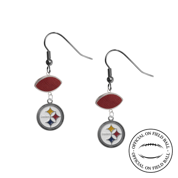 Pittsburgh Steelers NFL Authentic Official On Field Leather Football Dangle Earrings