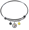 Pittsburgh Steelers Black NFL Expandable Wire Bangle Charm Bracelet