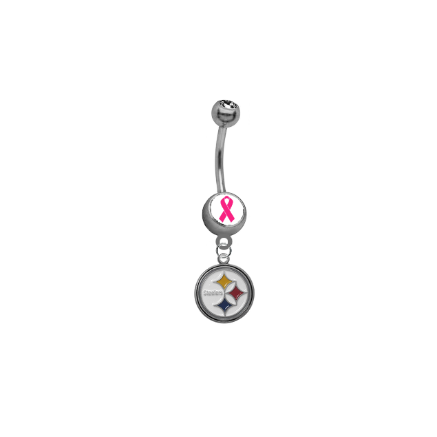 Pittsburgh Steelers Breast Cancer Awareness NFL Football Belly Button Navel Ring