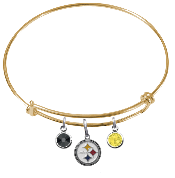 Pittsburgh Steelers Gold NFL Expandable Wire Bangle Charm Bracelet