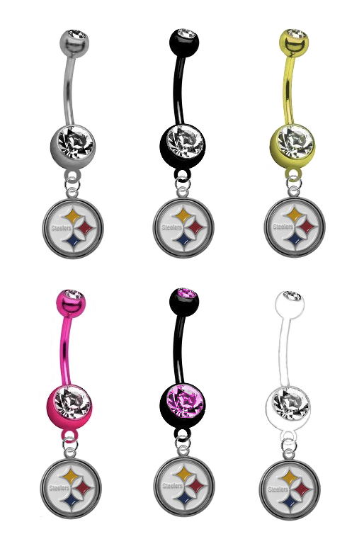 Pittsburgh Steelers NFL Football Belly Button Navel Ring - Pick Your Color