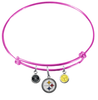 Pittsburgh Steelers Pink NFL Expandable Wire Bangle Charm Bracelet
