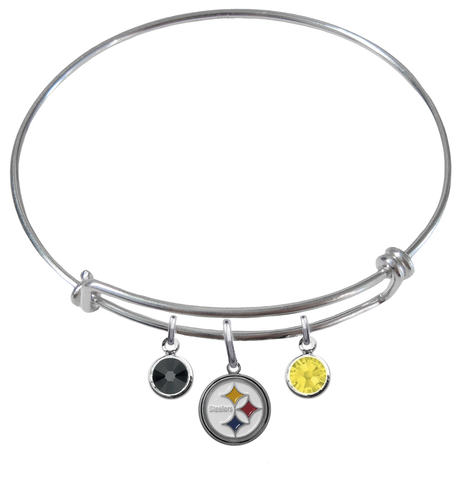 Pittsburgh Steelers NFL Expandable Wire Bangle Charm Bracelet