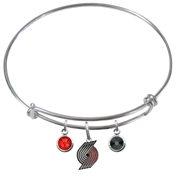 Portland Trail Blazers NBA Expandable Wire Bangle Charm Bracelet