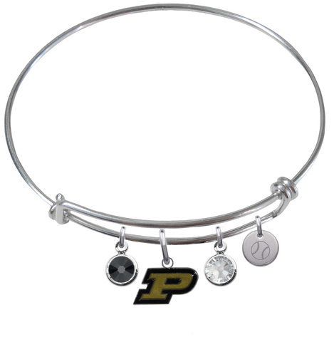 Purdue Boilermakers Baseball Expandable Wire Bangle Charm Bracelet
