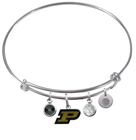 Purdue Boilermakers Basketball Expandable Wire Bangle Charm Bracelet