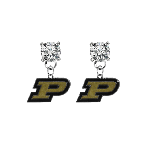 Purdue Boilermakers CLEAR Swarovski Crystal Stud Rhinestone Earrings