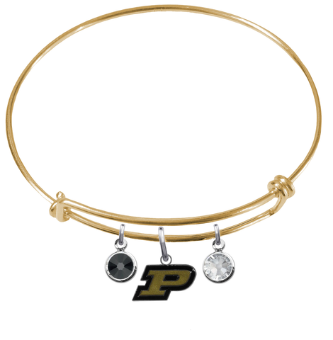 Purdue Boilermakers GOLD Expandable Wire Bangle Charm Bracelet