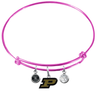 Purdue Boilermakers PINK Expandable Wire Bangle Charm Bracelet