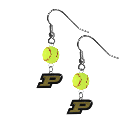 Purdue Boilermakers NCAA Fastpitch Softball Dangle Earrings