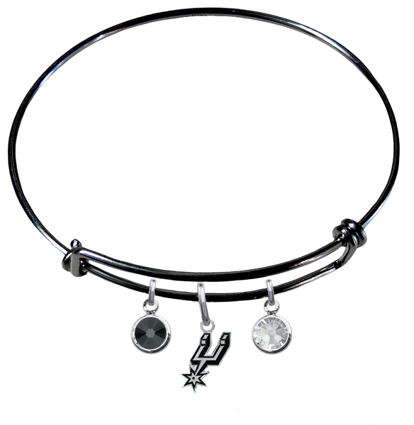 San Antonio Spurs BLACK Color Edition Expandable Wire Bangle Charm Bracelet