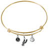San Antonio Spurs GOLD Color Edition Expandable Wire Bangle Charm Bracelet