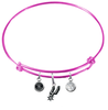 San Antonio Spurs PINK Color Edition Expandable Wire Bangle Charm Bracelet