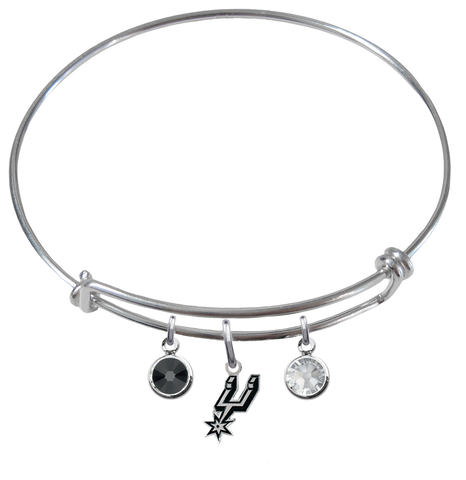 San Antonio Spurs NBA Expandable Wire Bangle Charm Bracelet