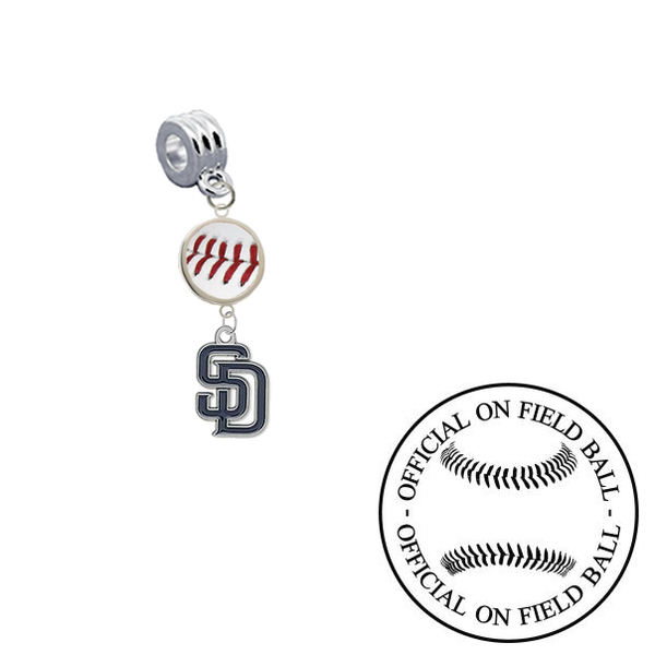 San Diego Padres On Field Baseball Universal European Bracelet Charm (Pandora Compatible)