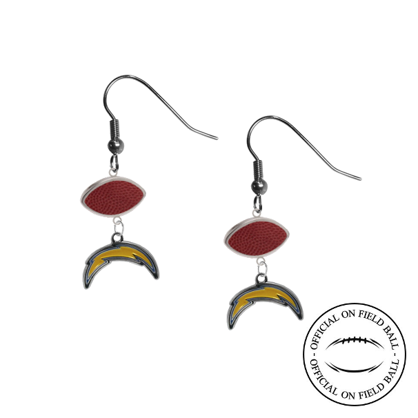 Los Angeles Chargers NFL Authentic Official On Field Leather Football Dangle Earrings