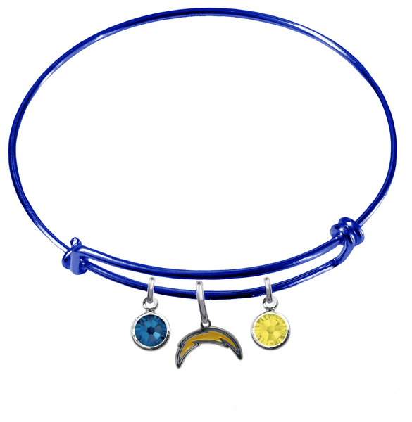 Los Angeles Chargers Blue NFL Expandable Wire Bangle Charm Bracelet