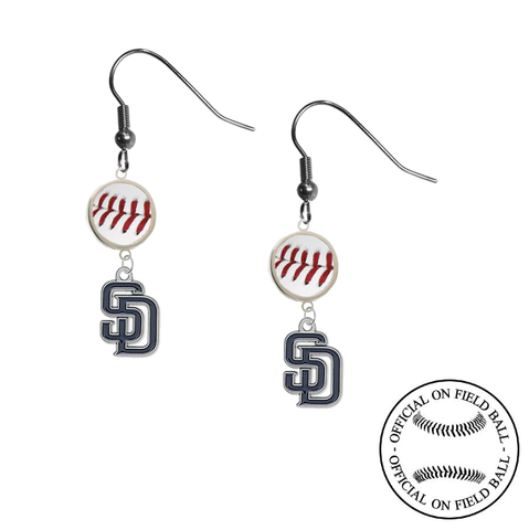 San Diego Padres MLB Authentic Rawlings On Field Leather Baseball Dangle Earrings