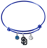 San Diego Padres Blue MLB Expandable Wire Bangle Charm Bracelet