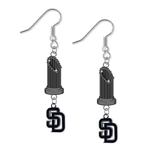 San Diego Padres MLB World Series Trophy Dangle Earrings