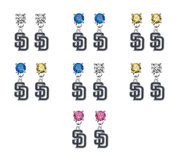 San Diego Padres MLB Swarovski Crystal Stud Rhinestone Earrings