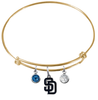 San Diego Padres Gold MLB Expandable Wire Bangle Charm Bracelet
