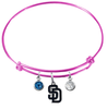 San Diego Padres Pink MLB Expandable Wire Bangle Charm Bracelet