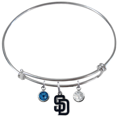 San Diego Padres MLB Expandable Wire Bangle Charm Bracelet