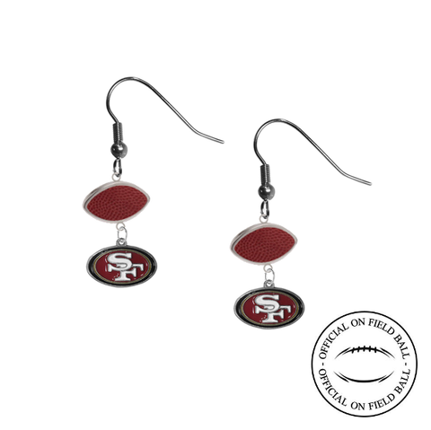 San Francisco 49ers NFL Authentic Official On Field Leather Football Dangle Earrings
