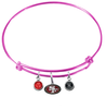 San Francisco 49ers Pink NFL Expandable Wire Bangle Charm Bracelet