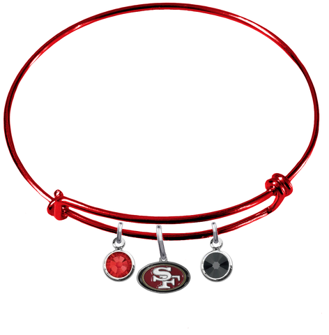 San Francisco 49ers Red NFL Expandable Wire Bangle Charm Bracelet